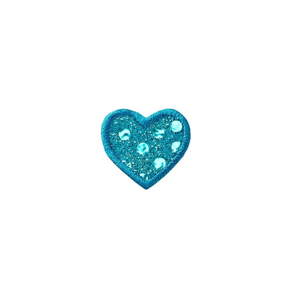 Herz blau mit Pailletten