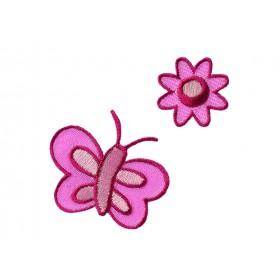 Fleur + papillon rose