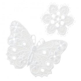 Papillon + fleur blanc dentelle