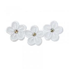 Fleurs blanches avec strass